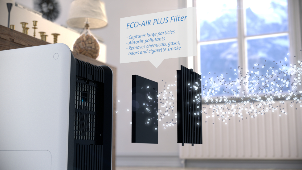 The unique air washer CA-803 does not only purify indoor air, but simultaneously emits humidified air.