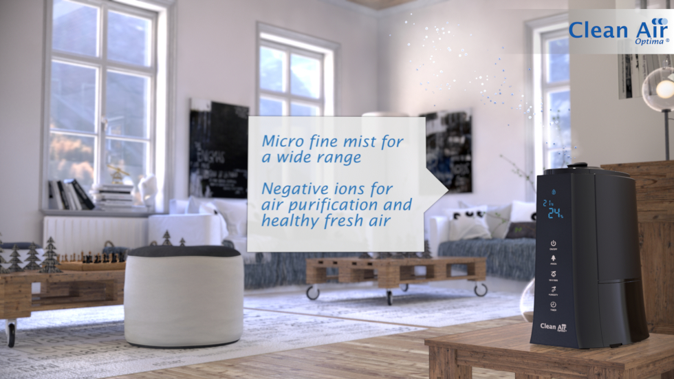 Combined ultrasonic air humidifying and air cleaning through ionizer, Aromatherapy