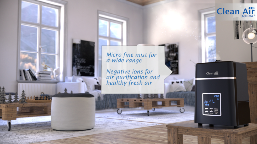 The Clean Air Optima humidifier combines two technologies in one: ultrasonic humidification and ionization air cleaning technology.