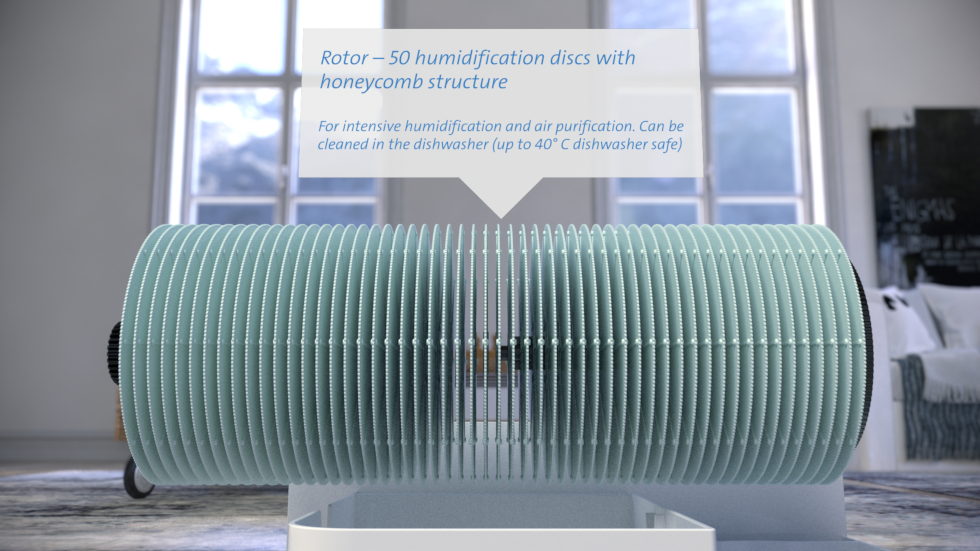 Air humidification through cold evaporation, Water as natural filter for air purification, Activated carbon prefilter & antimicrobial water filter